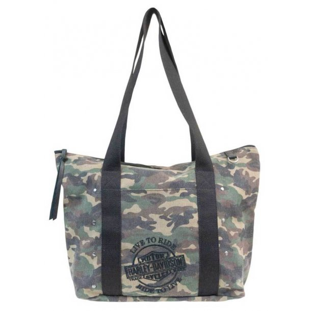Harley-Davidson® Women's B&S Embroidery Camo Print Canvas Tote